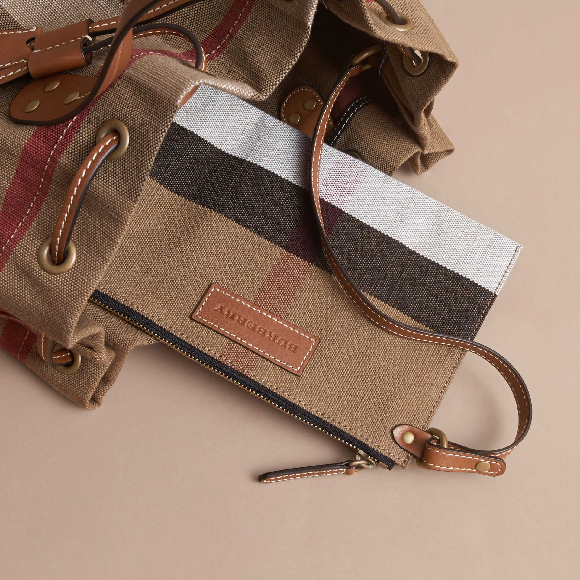 Canvas Check Bucket Bag - gallery image 5