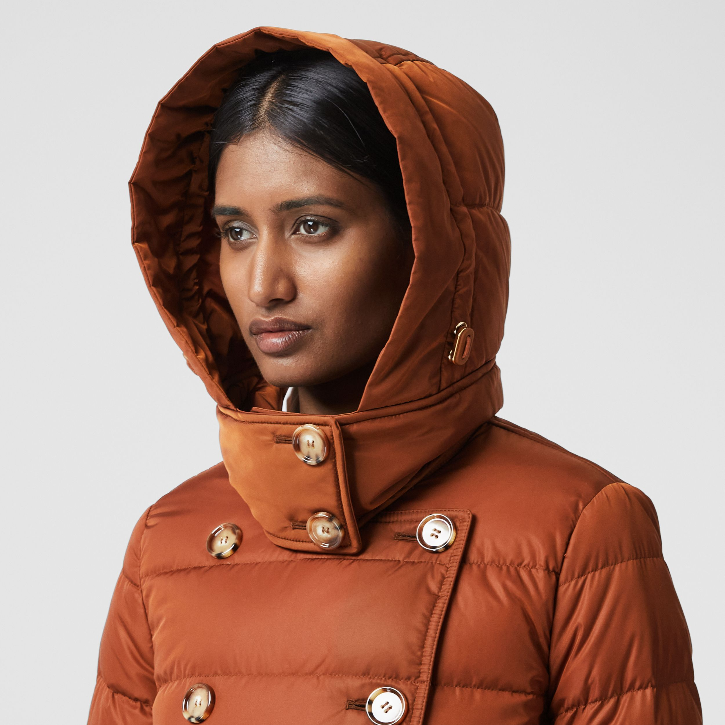 Logo Appliqué Detachable Hood Puffer Coat in Warm Brown - Women | Burberry - 2