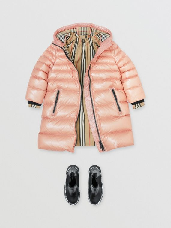 Icon Stripe Detail Down-filled Hooded Puffer Coat in Lavender Pink