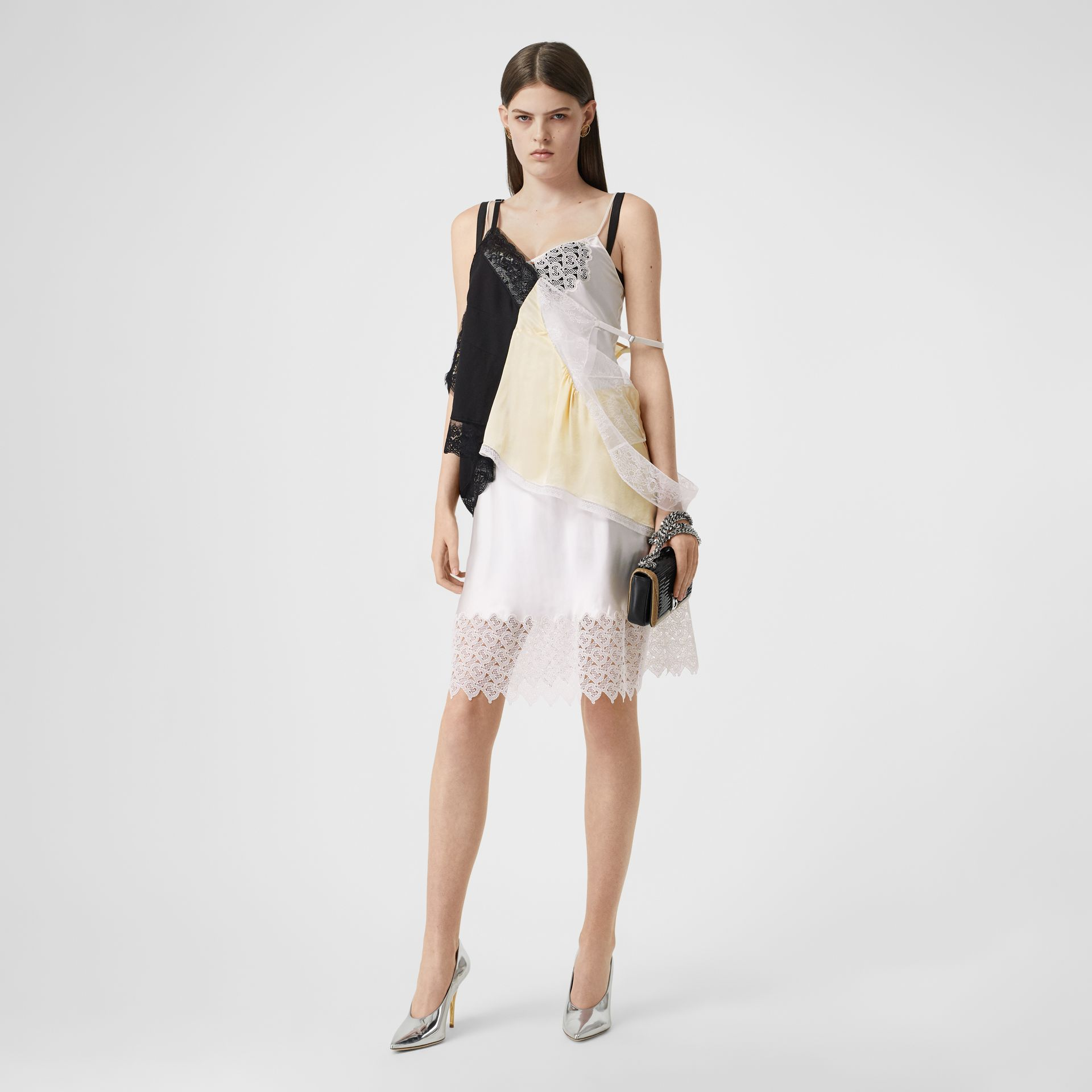 Lace Trim Silk Satin Reconstructed Camisole in Buttermilk - Women | Burberry - gallery image 0