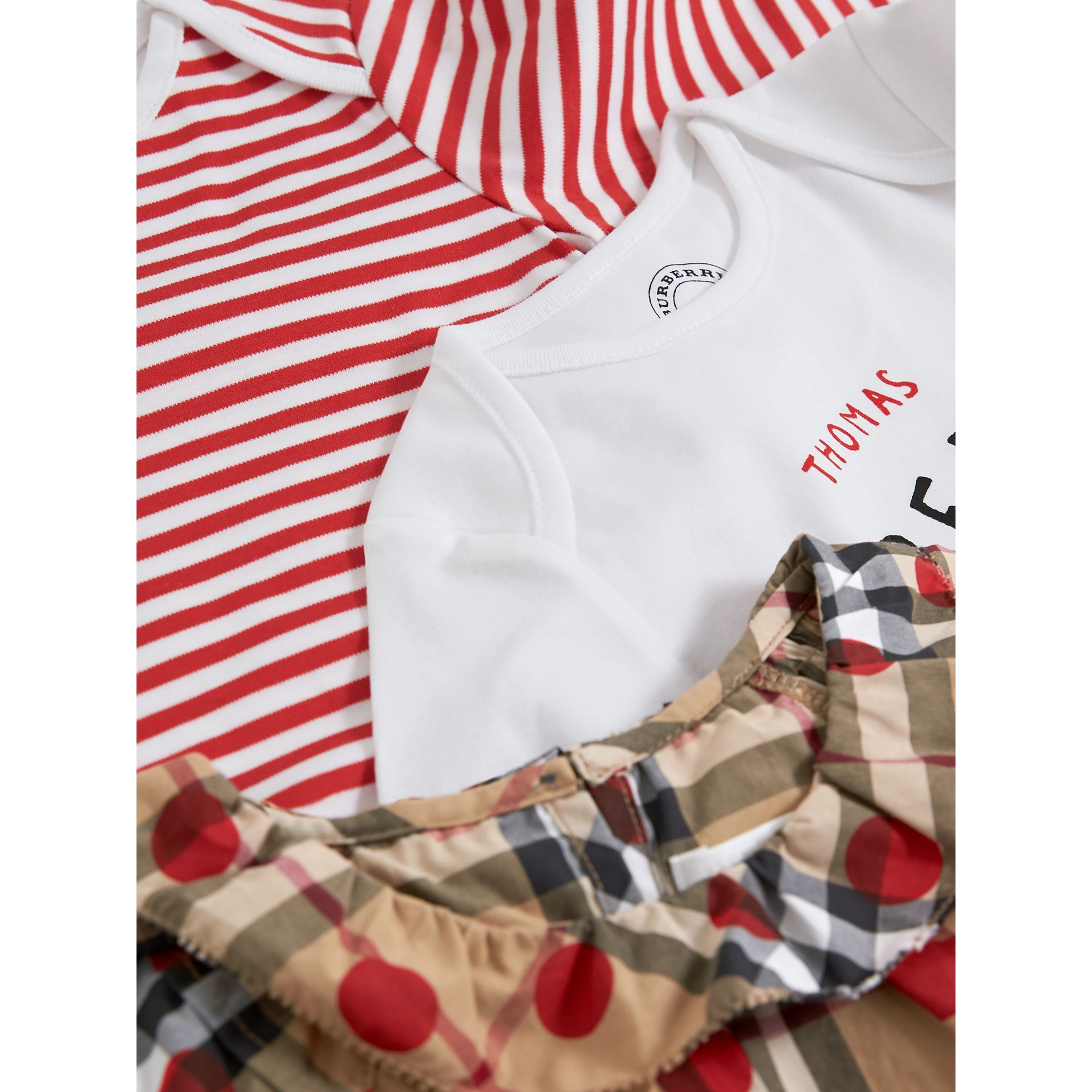 Cotton Three-piece Baby Gift Set in Military Red | Burberry - gallery image 1