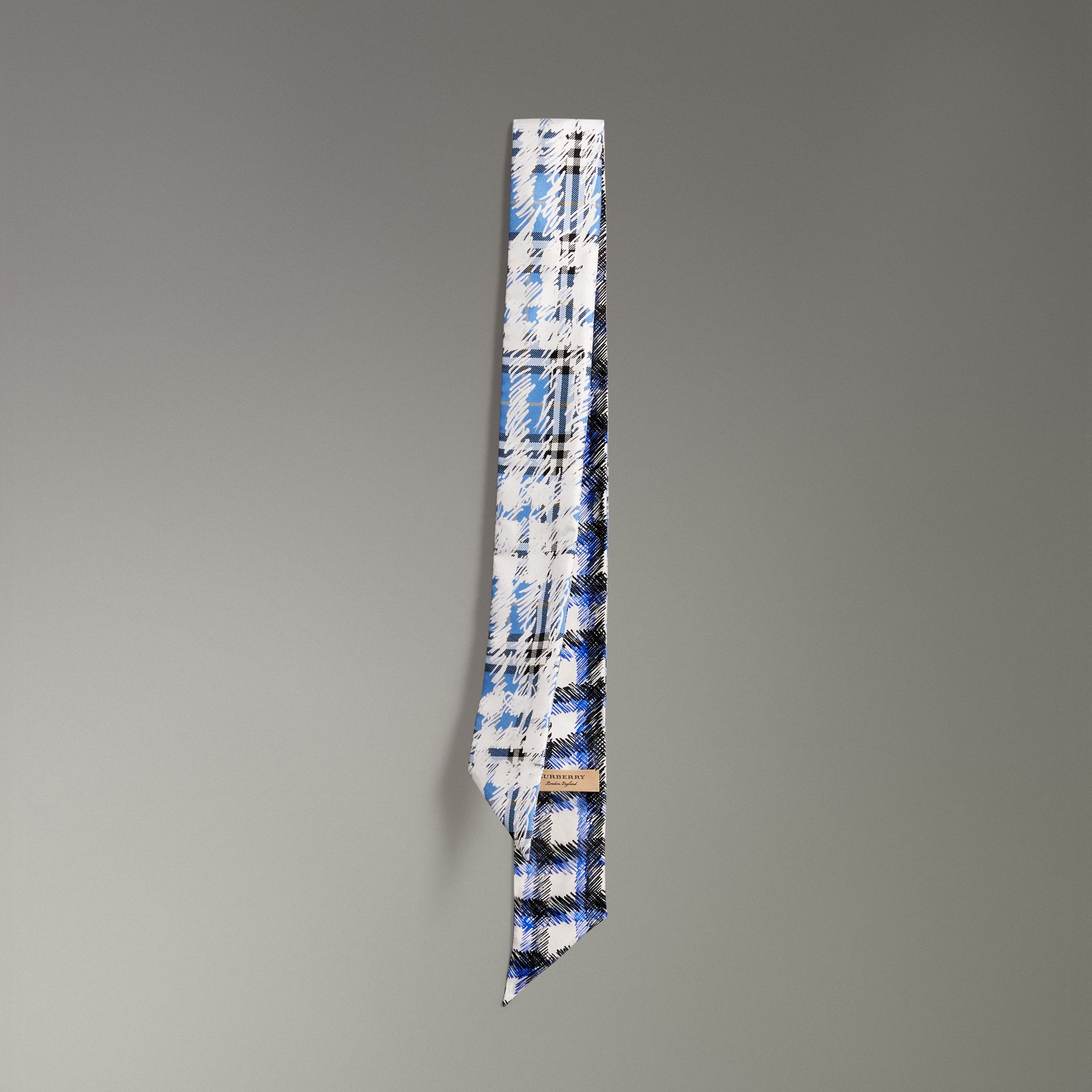 Scribble Check Silk Skinny Scarf in Light Azure - Women | Burberry - gallery image 0