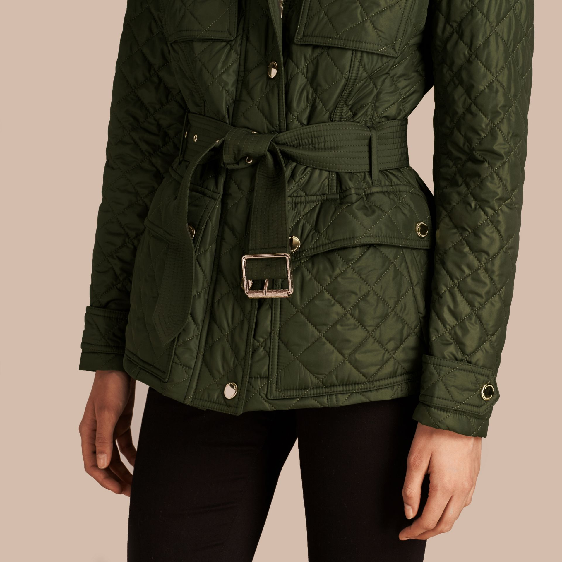 Olive Diamond Quilted Field Jacket with Panel Detail - gallery image 4
