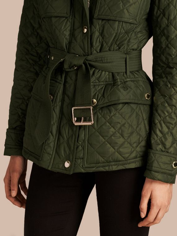 Olive Diamond Quilted Field Jacket with Panel Detail - cell image 3
