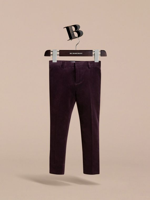 Tailored Velvet Tuxedo Trousers in Black Currant - Boy | Burberry Australia - cell image 2