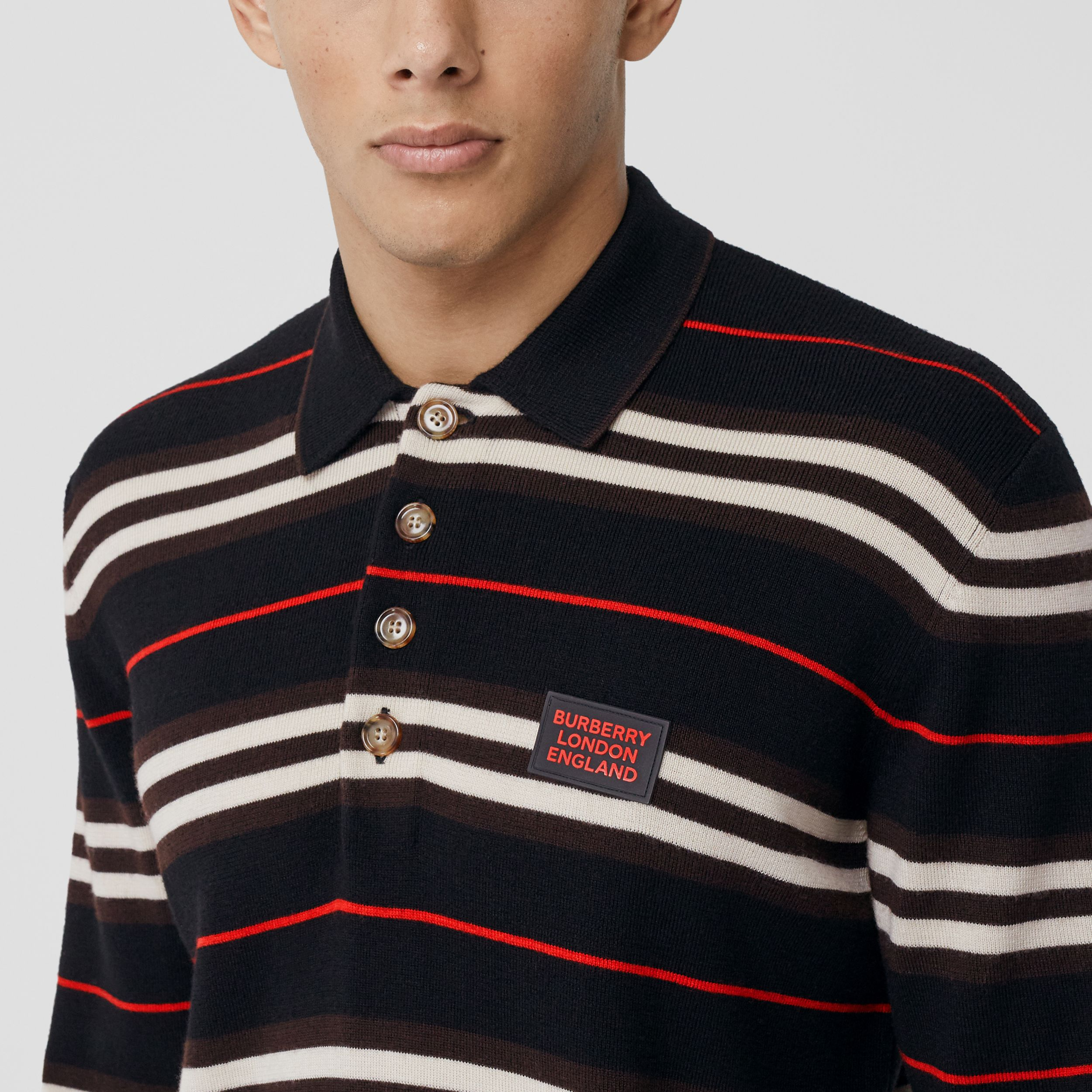 Long-sleeve Icon Stripe Merino Wool Polo Shirt in Black - Men | Burberry United States - 2