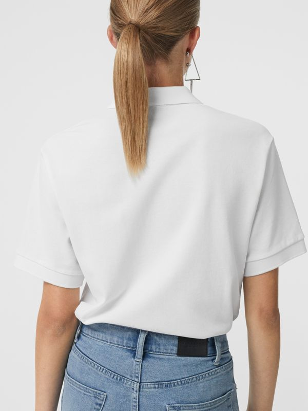 Check Placket Cotton Piqué Polo Shirt in White - Women | Burberry - cell image 2