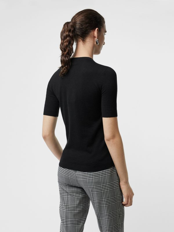 Short-sleeve Rib Knit Cashmere Sweater in Black - Women | Burberry - cell image 2