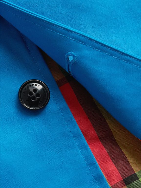 Mercerised Bonded Cotton Car Coat in Bright Blue | Burberry - cell image 1