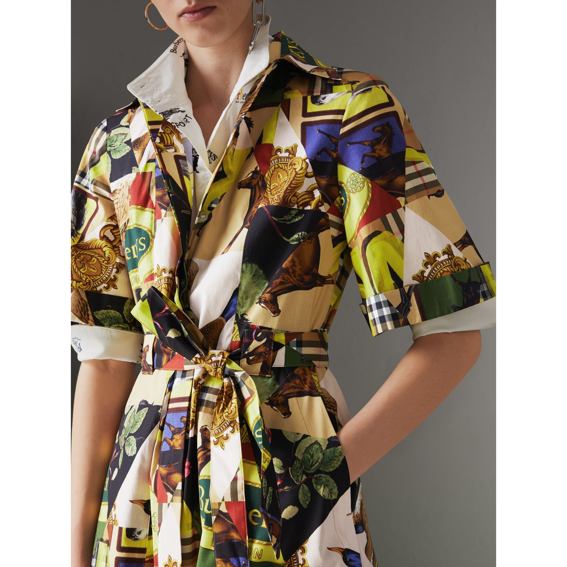 Graffitied Archive Scarf Print Shirt Dress in Bright Yellow - Women | Burberry United States - gallery image 1