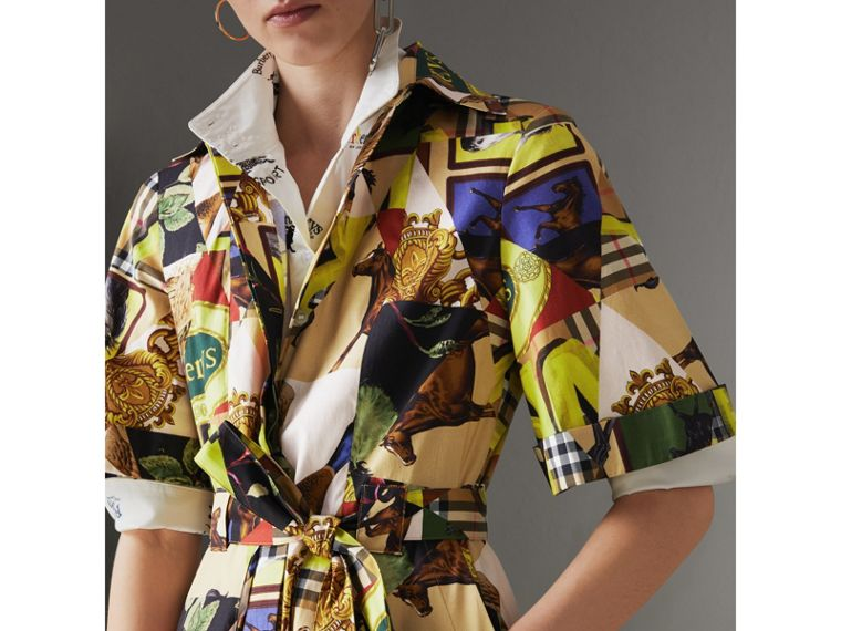 Graffitied Archive Scarf Print Shirt Dress in Bright Yellow - Women | Burberry - cell image 1