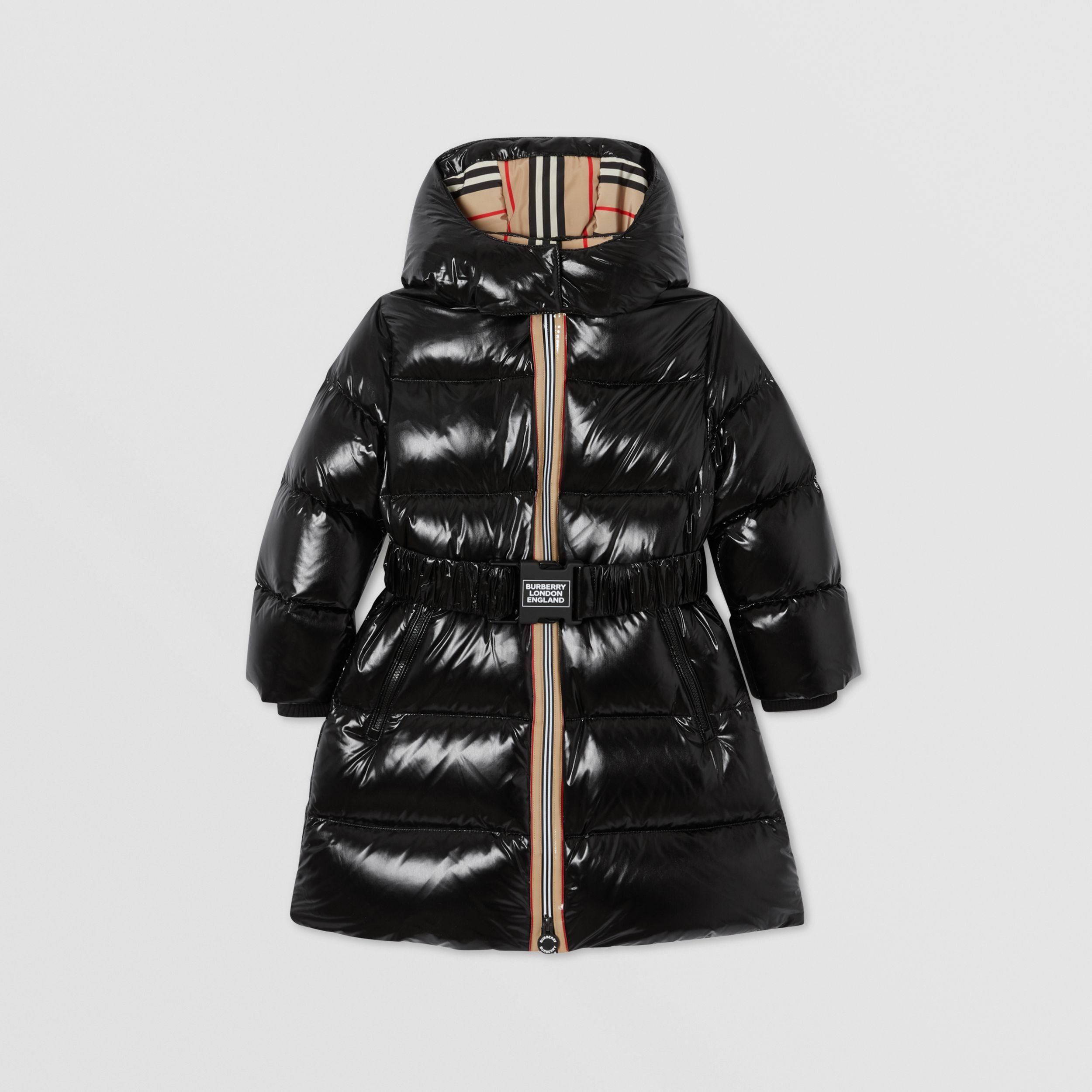 Icon Stripe Trim Hooded Puffer Coat in Black | Burberry United Kingdom - 1