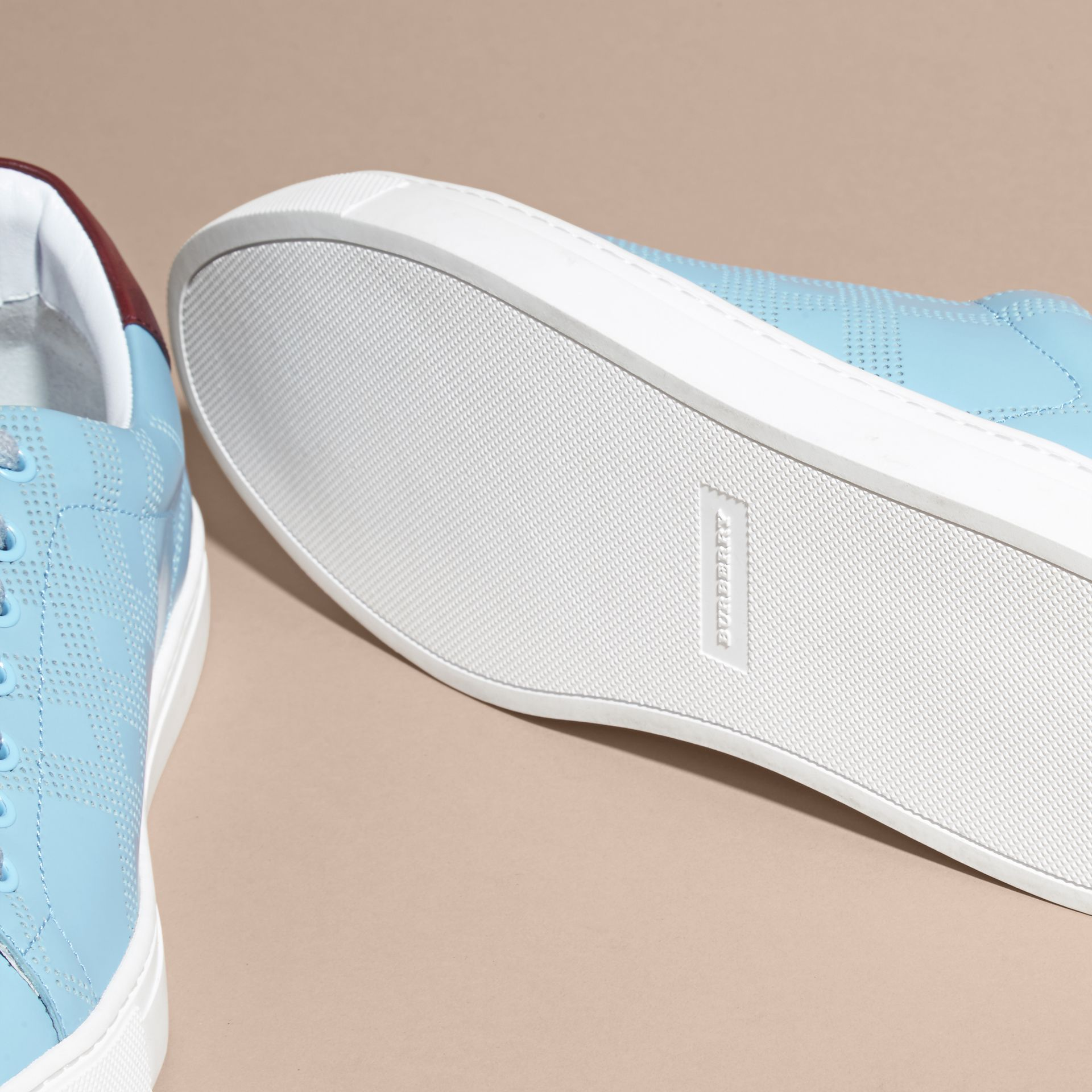 Powder blue/deep claret melange Perforated Check Leather Trainers Powder Blue/deep Claret Melange - gallery image 5