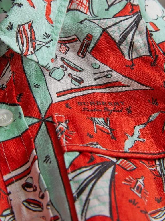 Short-sleeve Picnic Print Linen Shirt in Bright Aqua - Children | Burberry - cell image 1