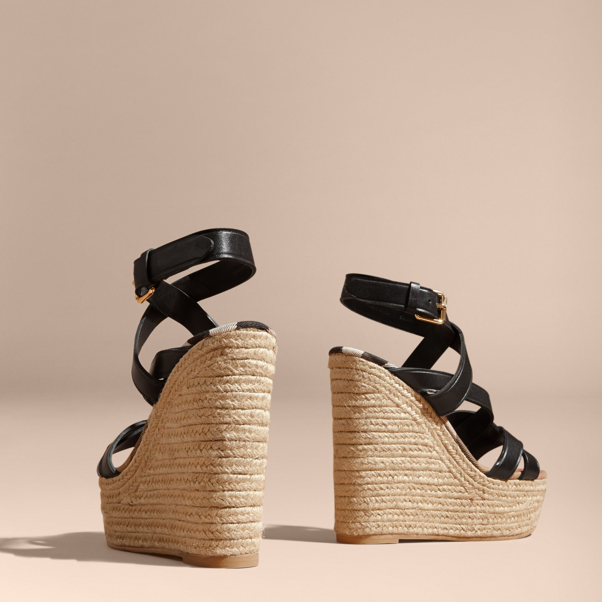 Leather Platform Espadrille Wedge Sandals in Black - Women | Burberry Canada - gallery image 5
