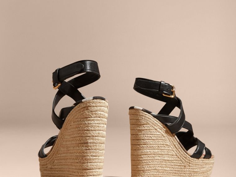 Leather Platform Espadrille Wedge Sandals in Black - Women | Burberry Canada - cell image 4