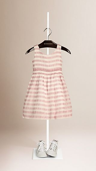 Open-back Detail Striped Silk Dress