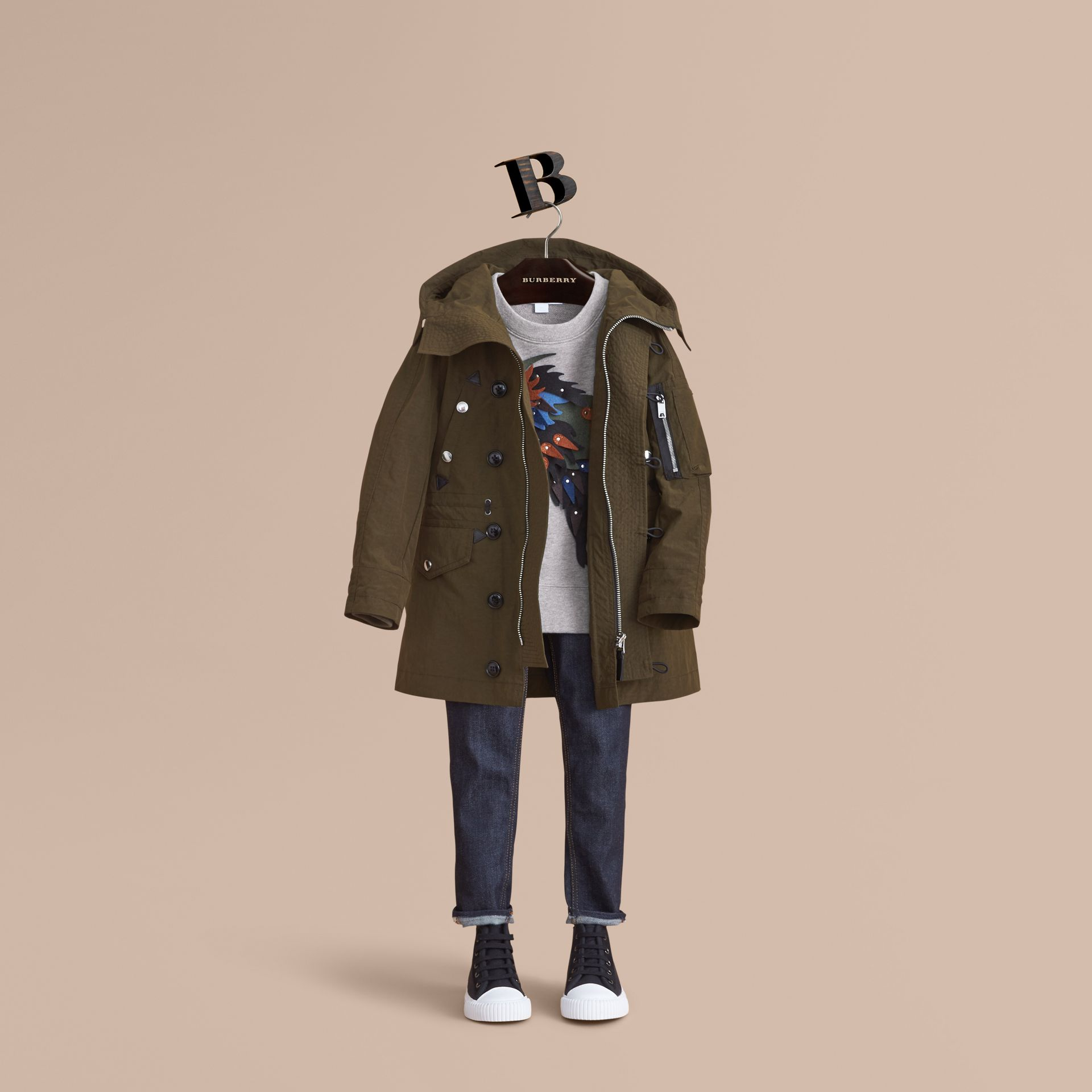 Leather Trim Hooded Utility Jacket in Dark Olive | Burberry - gallery image 1