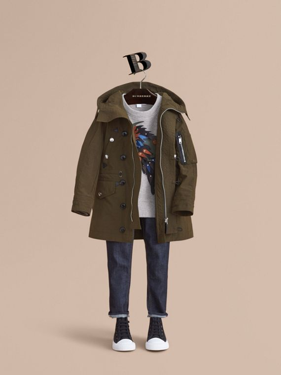 Leather Trim Hooded Utility Jacket - Boy | Burberry Singapore