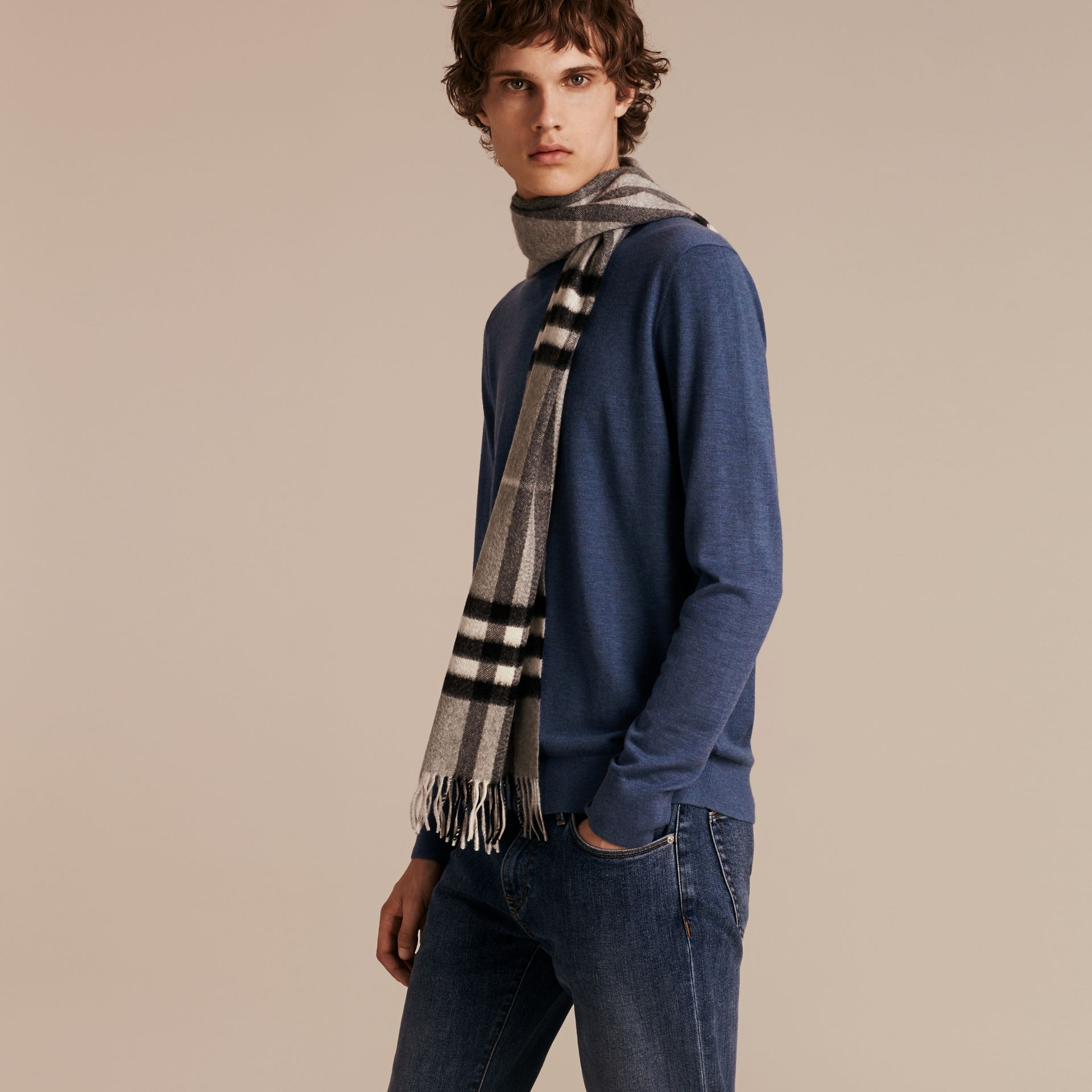 Dusty blue Lightweight Crew Neck Cashmere Sweater with Check Trim Dusty Blue - gallery image 6