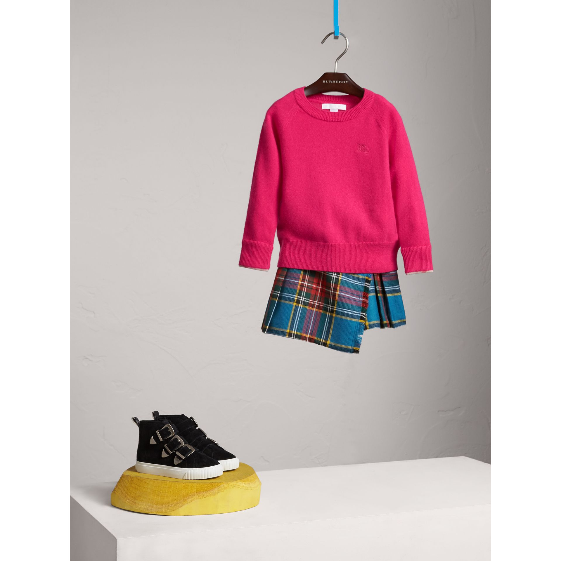 Check Cuff Cashmere Sweater in Bright Crimson Pink - Girl | Burberry - gallery image 1