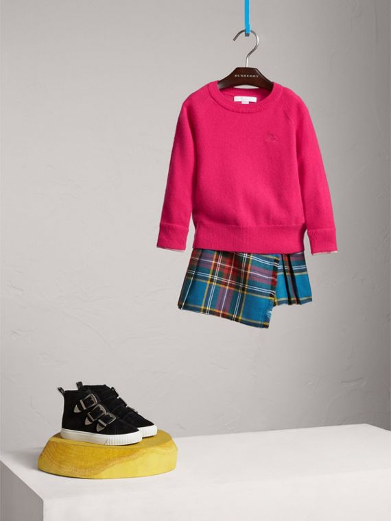 Check Cuff Cashmere Sweater in Bright Crimson Pink