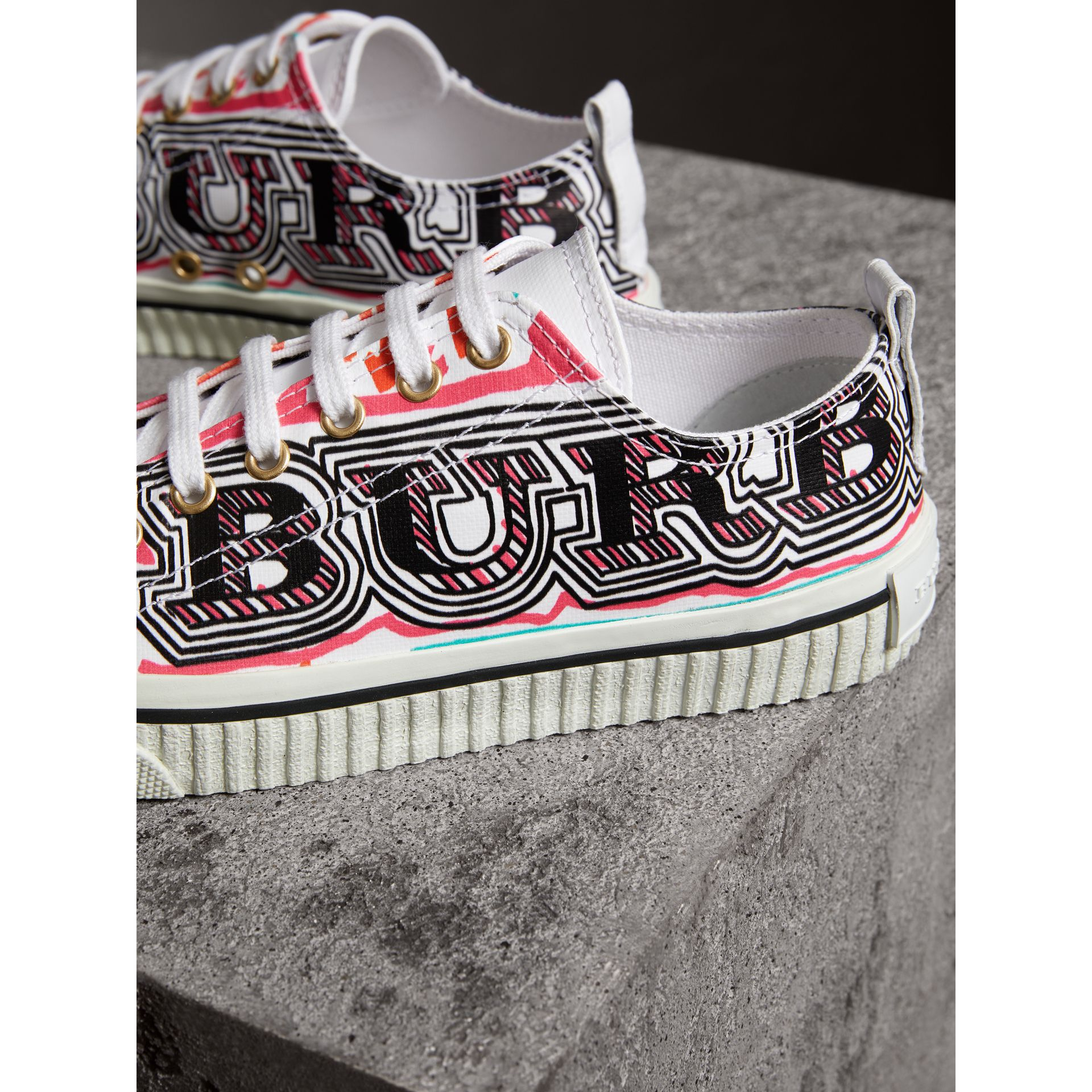 Doodle Print Coated Cotton Trainers in Optic White - Women | Burberry - gallery image 5