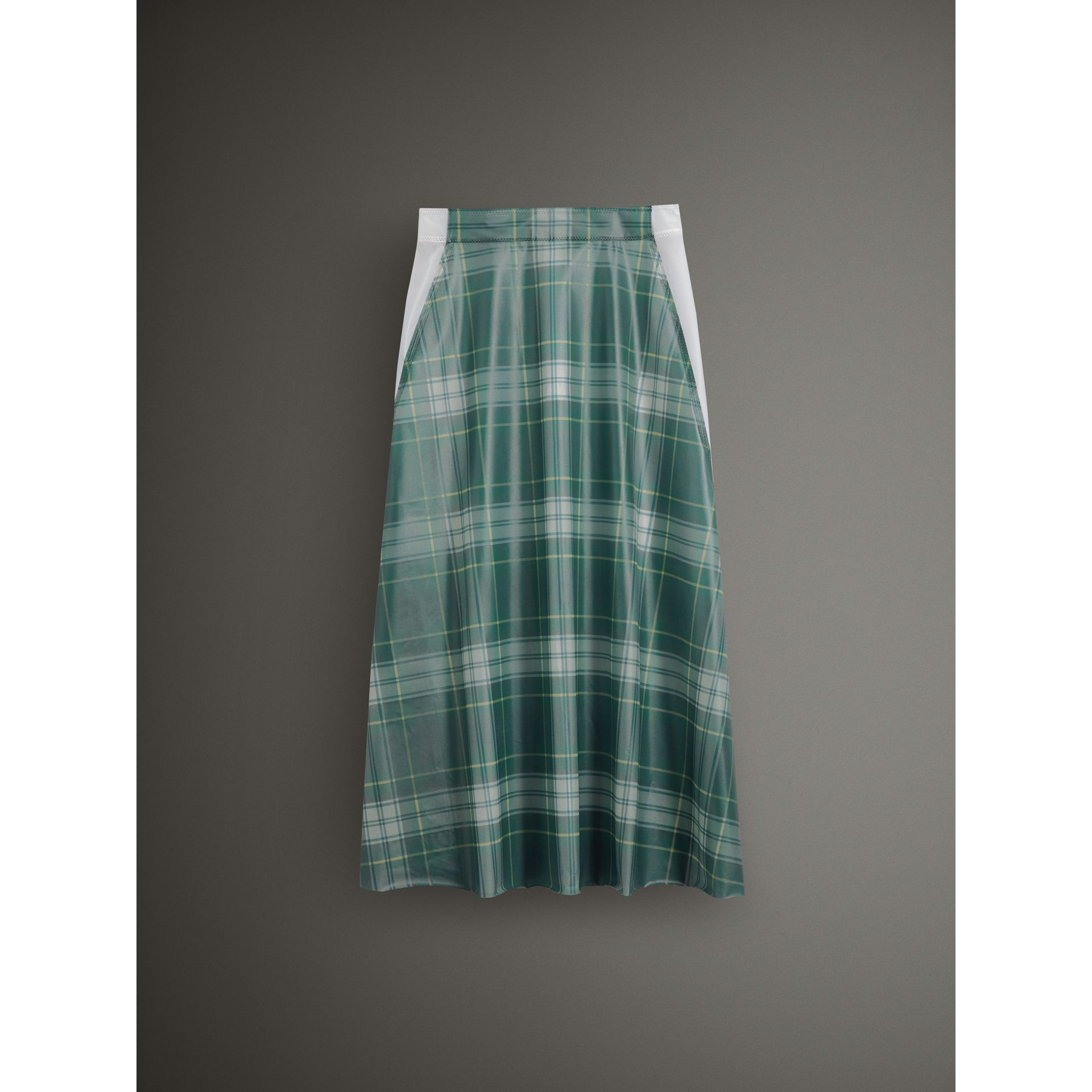 Silk-lined Tartan Plastic A-line Skirt in Green - Women | Burberry - gallery image 3