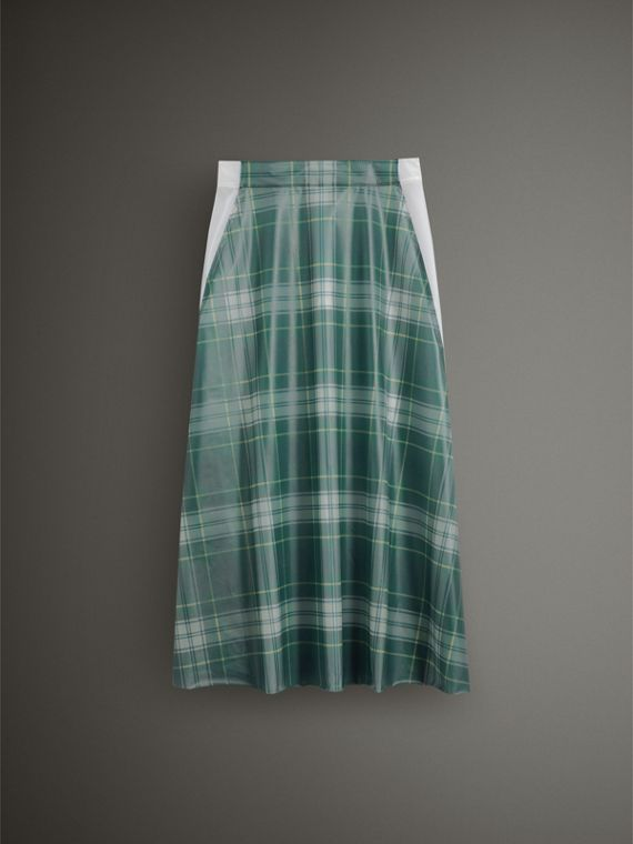 Silk-lined Tartan Plastic A-line Skirt in Green - Women | Burberry - cell image 3