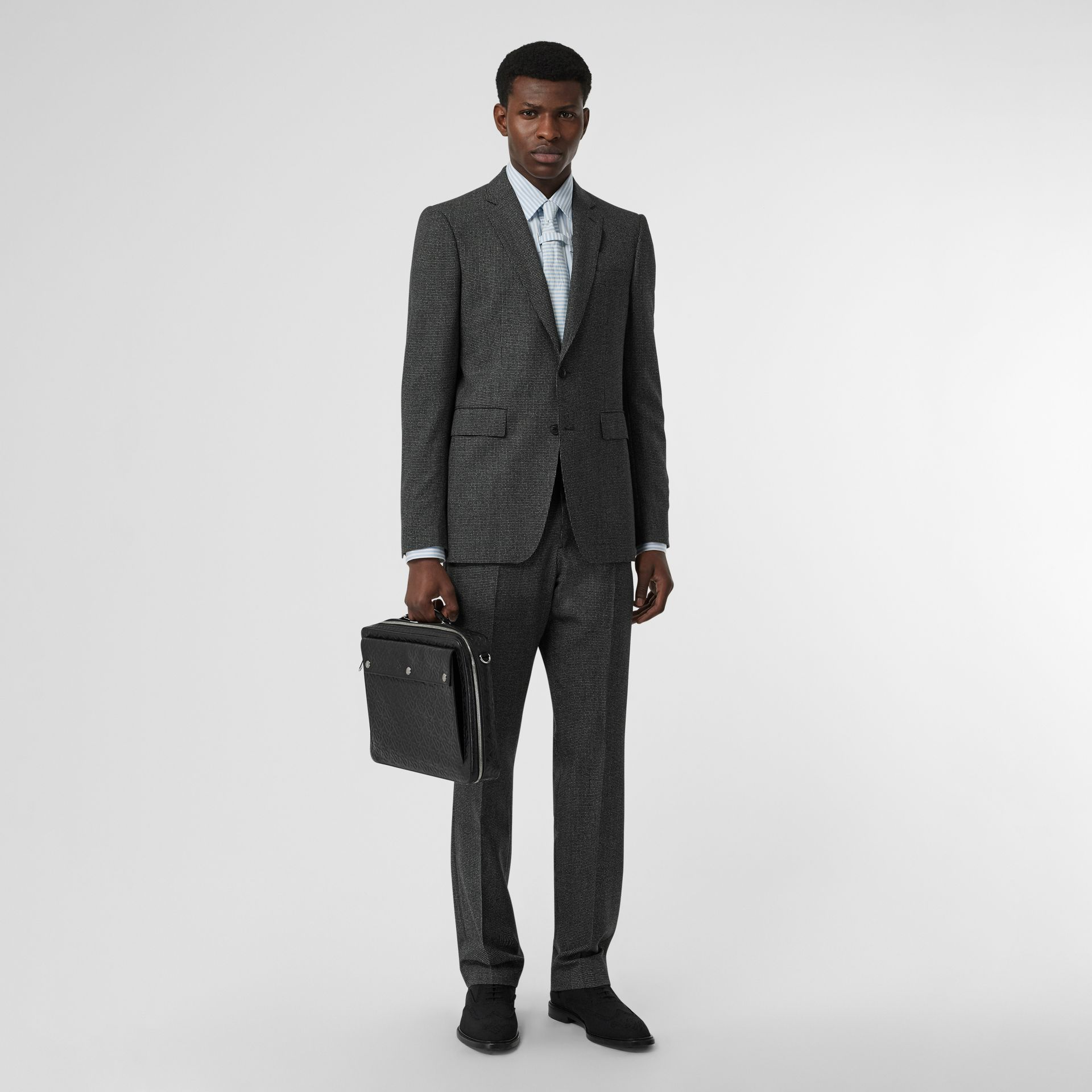 English Fit Puppytooth Check Wool Suit in Charcoal Melange - Men | Burberry - gallery image 0