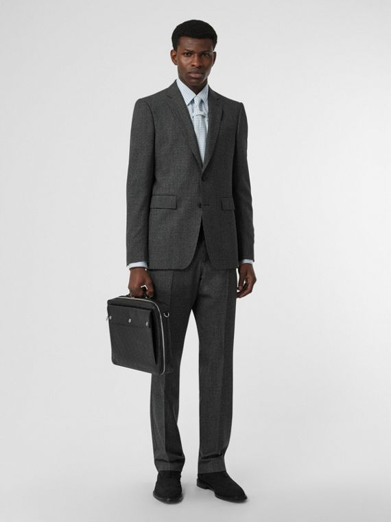 English Fit Puppytooth Check Wool Suit in Charcoal Melange