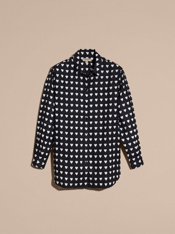 Black Heart Print Linen Shirt Black - cell image 3