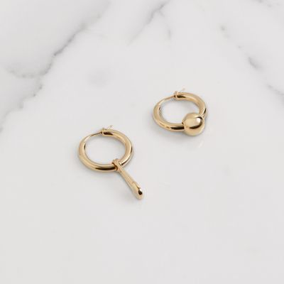 Kilt Pin And Charm Gold-Plated Hoop Earrings, Light Gold