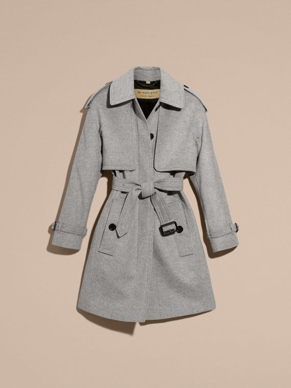 Pale grey melange Wool Cashmere Trench Coat with Oversize Detailing - cell image 3