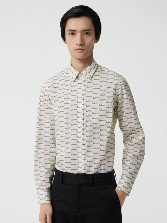 Logo Print Cotton Shirt in White