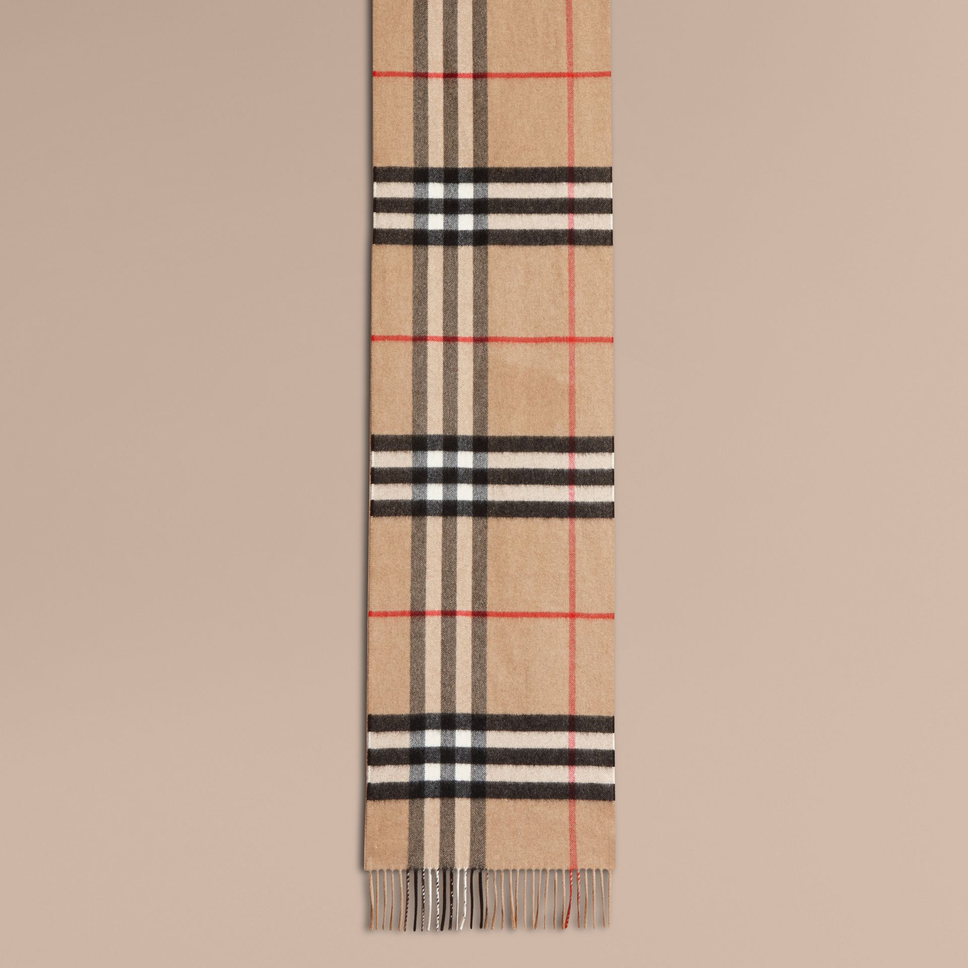 The Classic Cashmere Scarf in Check with Sequined Heart in Camel/black - gallery image 2