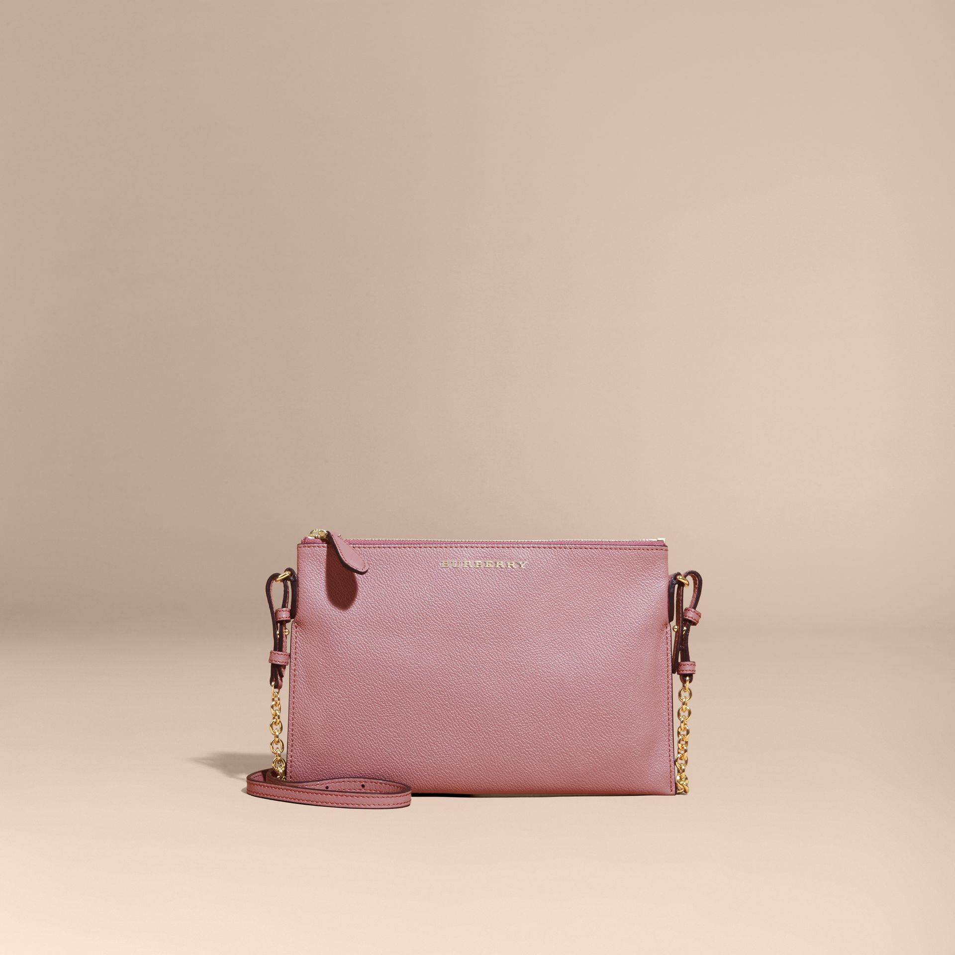 Leather Clutch Bag with Check Lining Dusty Pink - gallery image 9