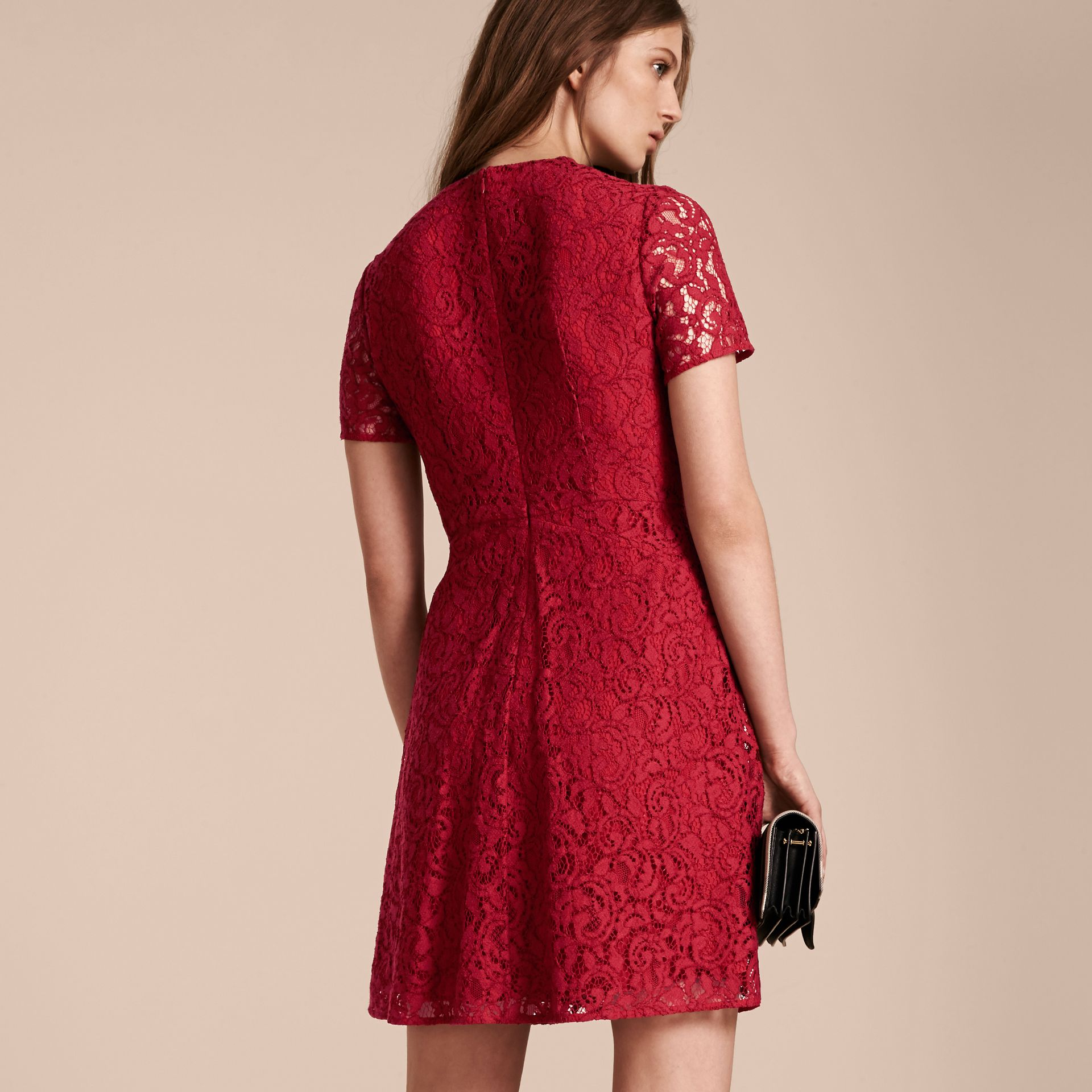 Fit-and-flare Dropped-waist Lace Dress in Parade Red - gallery image 3