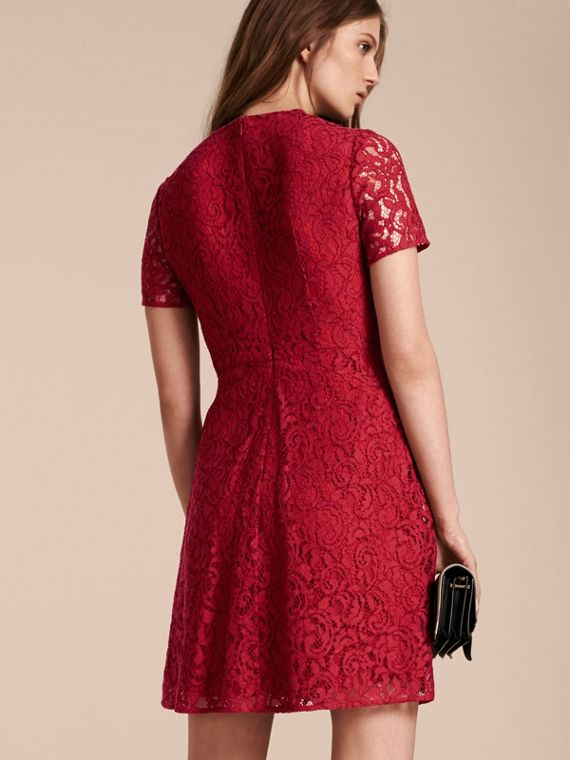 Fit-and-flare Dropped-waist Lace Dress in Parade Red - cell image 2