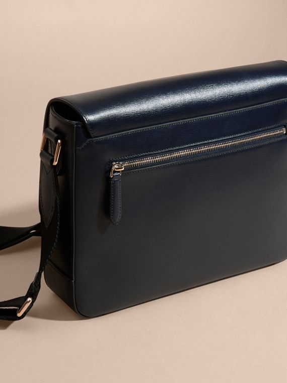 Dark navy Medium London Leather Messenger Bag Dark Navy - cell image 3