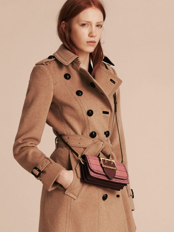 The Small Buckle Bag in Alligator and Leather in Dusky Pink/ Burgundy - Women | Burberry United Kingdom - cell image 3