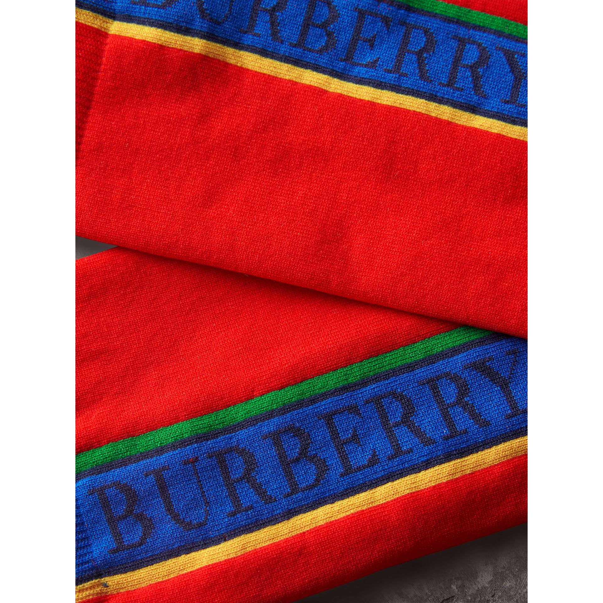 Logo Technical Knit Socks in Military Red | Burberry - gallery image 1