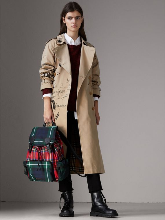 The Large Rucksack in Patchwork Tartan in Military Red | Burberry United Kingdom - cell image 2