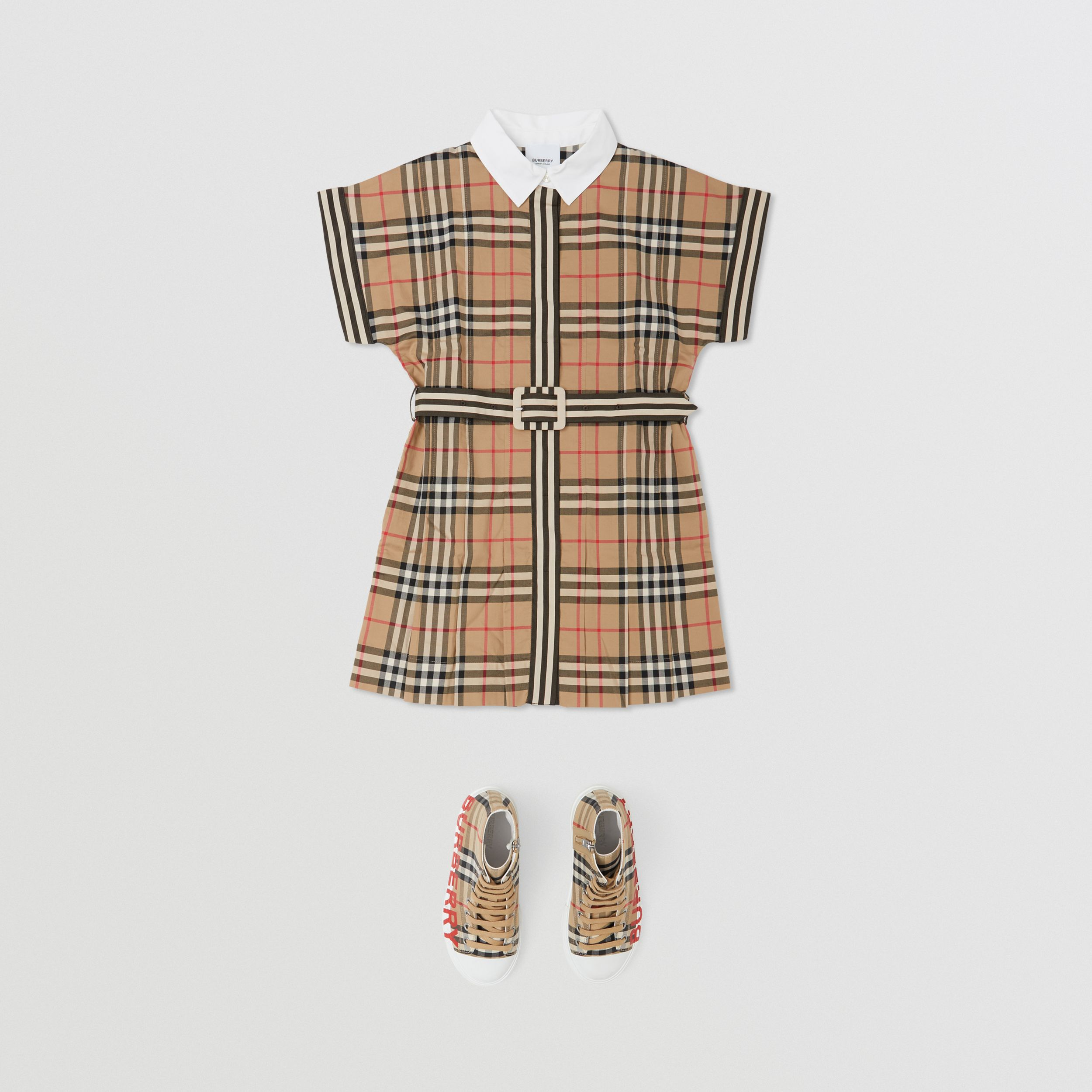 Contrast Collar Vintage Check Cotton Dress in Archive Beige | Burberry - 4