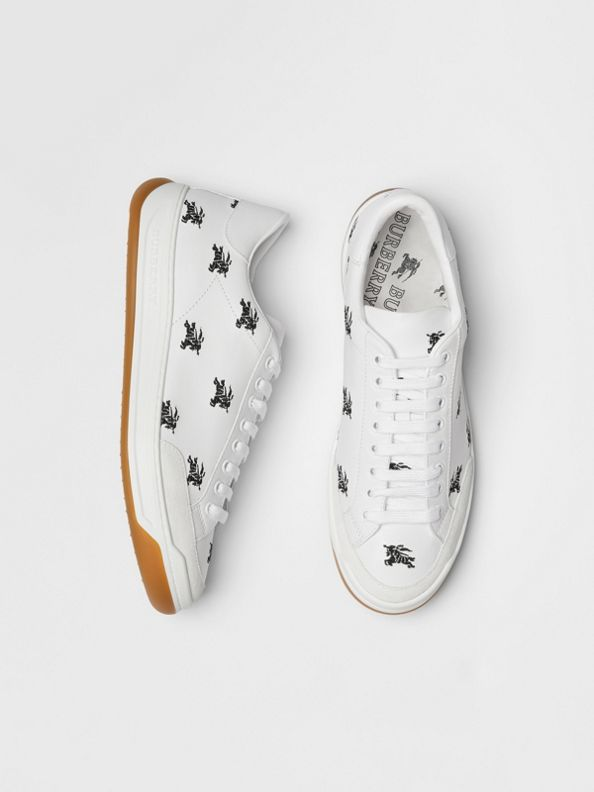Embroidered Logo Leather Sneakers in Optic White