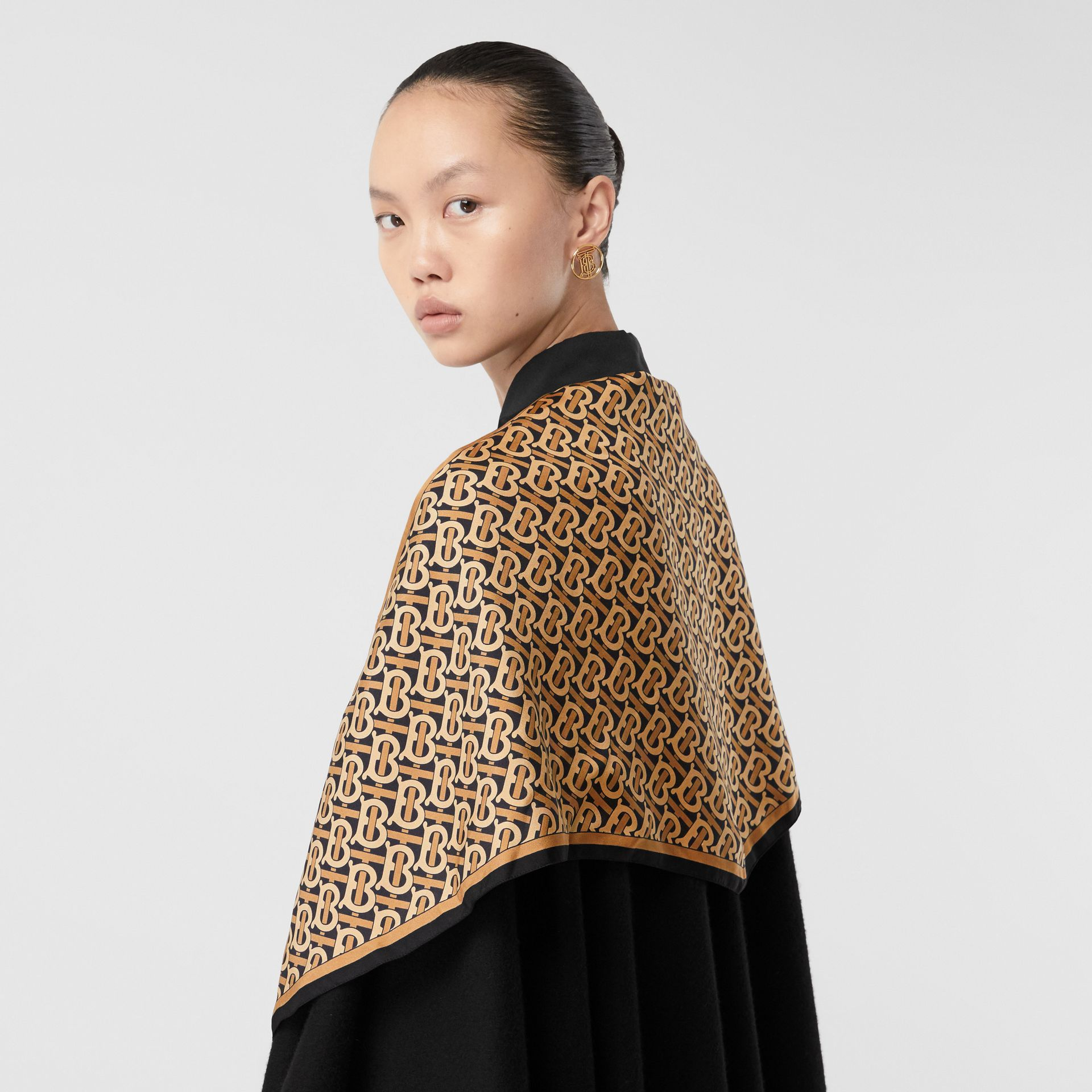 Detachable Monogram Print Scarf Cashmere Cape in Black - Women | Burberry - gallery image 1