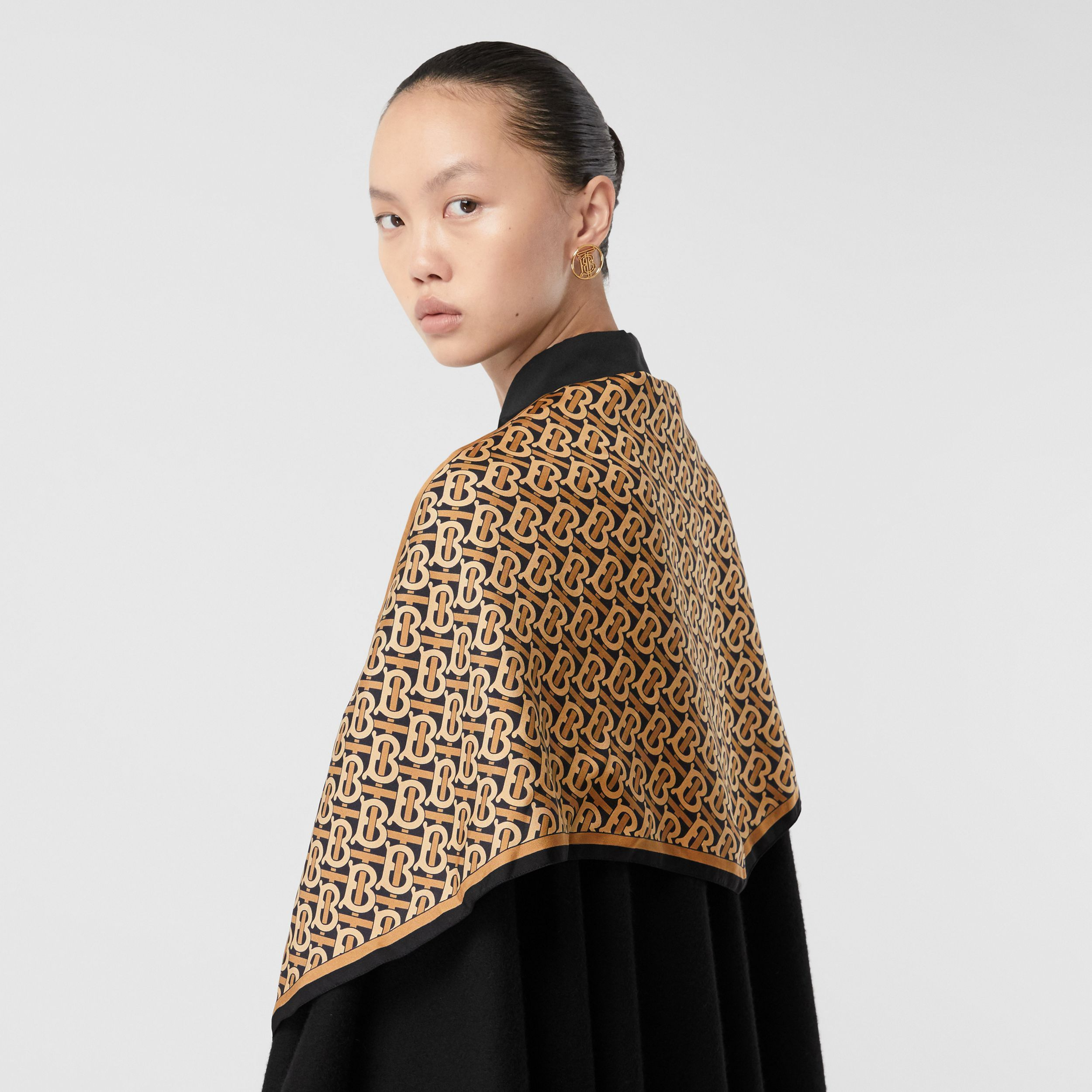 Detachable Monogram Print Scarf Cashmere Cape in Black - Women | Burberry - 2