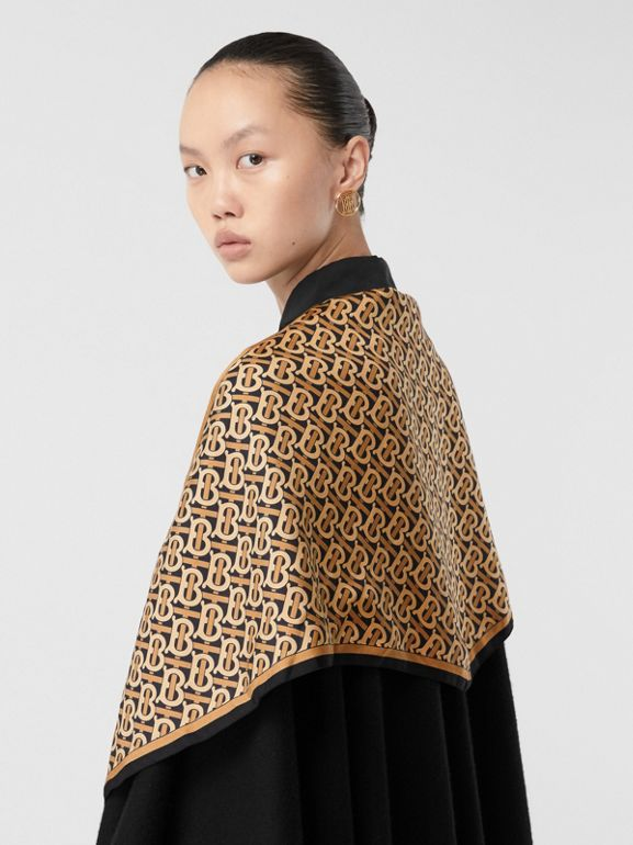 Detachable Monogram Print Scarf Cashmere Cape in Black - Women | Burberry - cell image 1