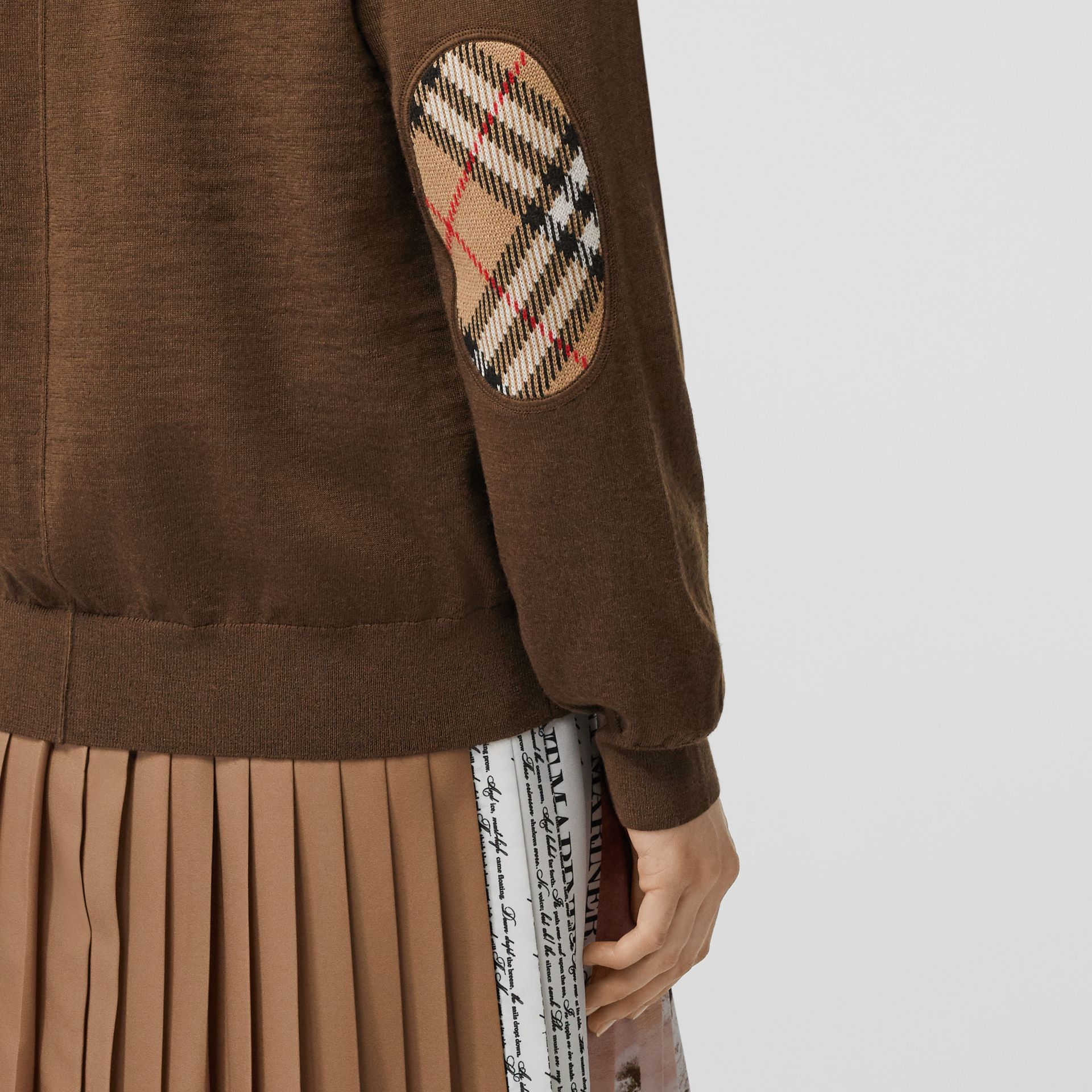 Vintage Check Detail Merino Wool Cardigan in Bridle Brown - Women | Burberry Canada - gallery image 1