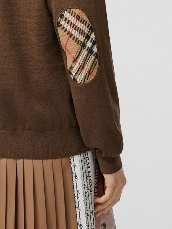 Vintage Check Detail Merino Wool Cardigan in Bridle Brown - Women | Burberry Singapore - cell image 1